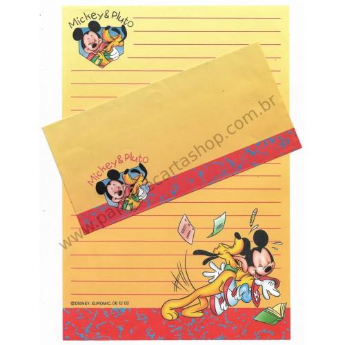 Ano 2002. Conjunto de Papel de Carta Antigo Importado Disney Mickey & Pluto