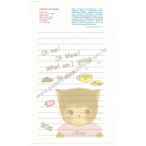Ano 1988. Conjunto de Papel de Carta Minny le Mew Vintage Sanrio