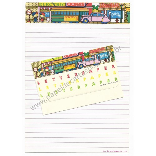 Ano 1976. Conjunto de Papel de Carta Antigo (Vintage) Patty & Jimmy Sanrio