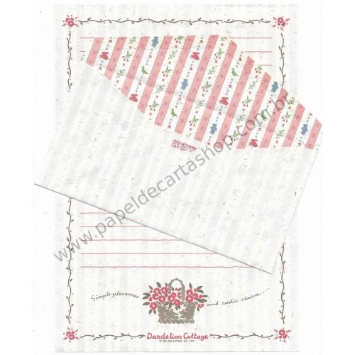 Ano 1986. Conjunto de Papel de Carta Dandelion Cottage Vintage Sanrio