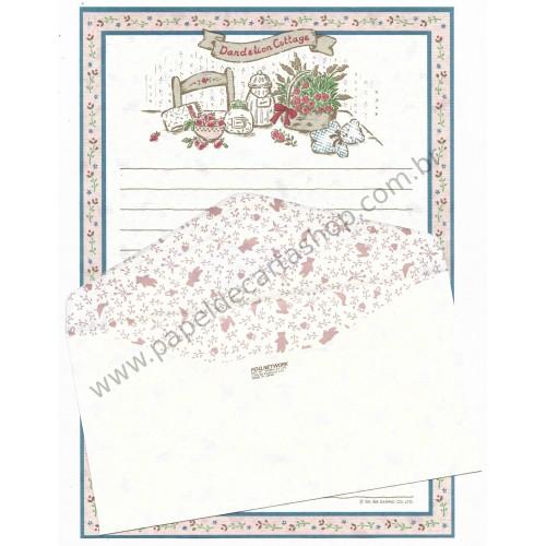 Ano 1986. Conjunto de Papel de Carta Dandelion Cottage CAZ Vintage Sanrio