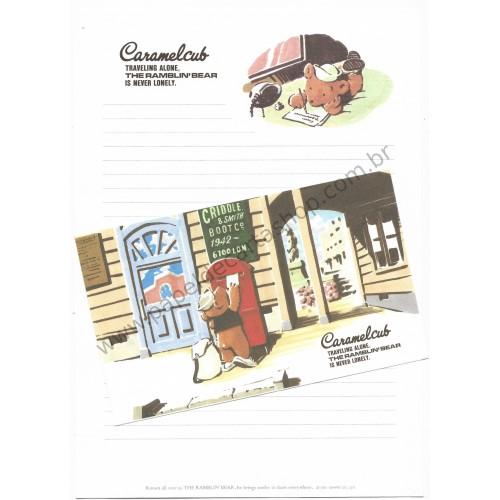 Ano 1991. Conjunto de Papel de Carta THE RAMBLIN'S BEAR Vintage Sanrio