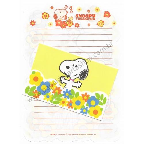 Conjunto de Papel de Carta Snoopy Antigo (Vintage) FLOWERS CAM