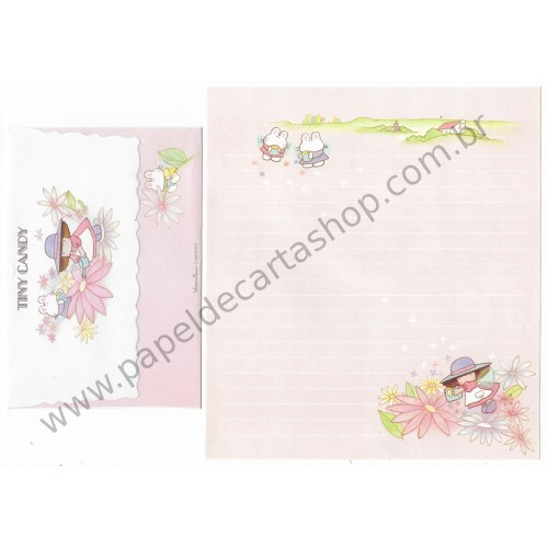Conjunto de Papel de Carta Vintage Tiny Candy Flower Days Gakken