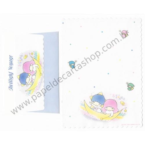 Ano 1984. Conjunto de Papel de Carta Little Twin Stars BR F2 Antigo (Vintage) Sanrio
