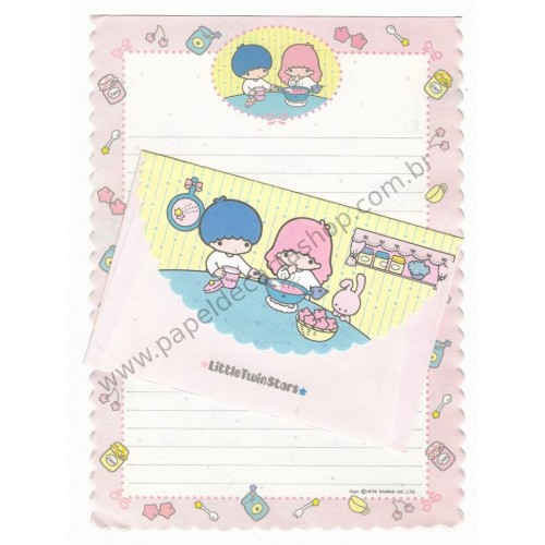 Ano 1976. Conjunto de Papel de Carta Little Twin Stars Cooking Vintage Sanrio Japan