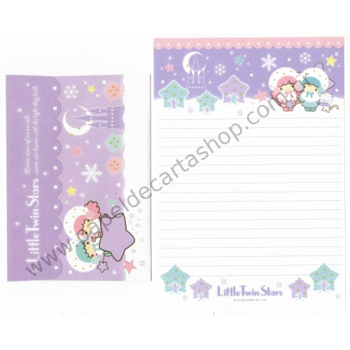 Ano 2008. Conjunto de Papel de Carta Little Twin Stars Winter Stars1 Sanrio