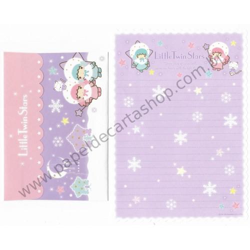 Ano 2008. Conjunto de Papel de Carta Little Twin Stars Winter Stars2 Sanrio
