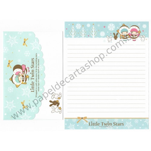 Ano 2007. Conjunto de Papel de Carta Little Twin Stars White Snow Sanrio