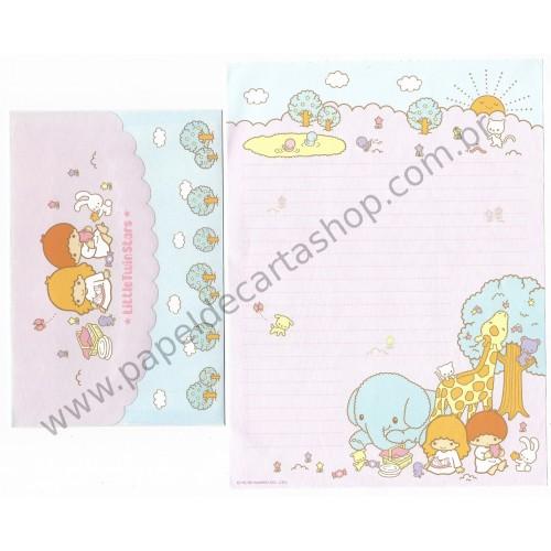 Ano 2005. Conjunto de Papel de Carta Little Twin Stars Pic-nic Sanrio