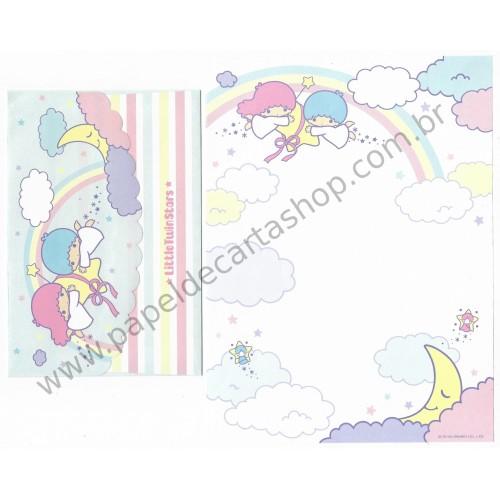 Ano 2005. Conjunto de Papel de Carta Little Twin Stars Sky Sanrio