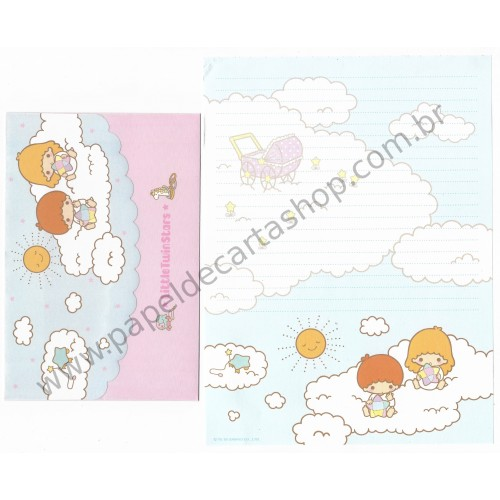 Ano 2005. Conjunto de Papel de Carta Little Twin Stars Baby Star Sanrio