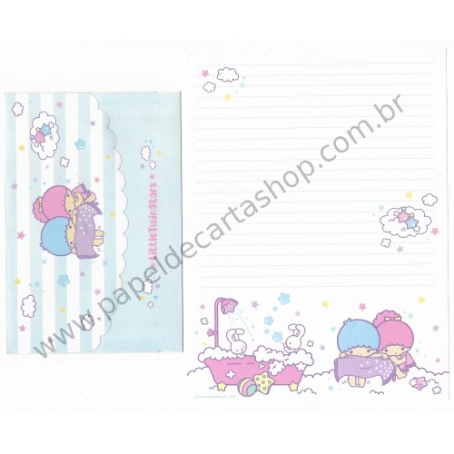 Ano 2005. Conjunto de Papel de Carta Little Twin Stars Bathtub Sanrio