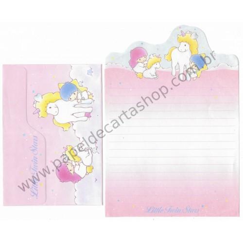 Ano 1989. Conjunto de Papel de Carta Little Twin Stars & Unicornio Sanrio Taiwan