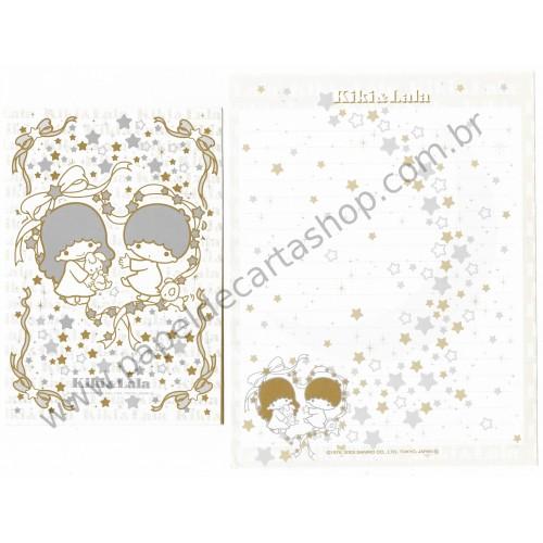 Ano 2003. Conjunto de Papel de Carta Little Twin Stars Silver & Gold C2 Sanrio