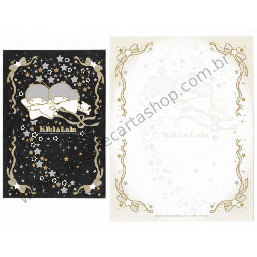 Ano 2003. Conjunto de Papel de Carta Little Twin Stars Silver & Gold C5 Sanrio