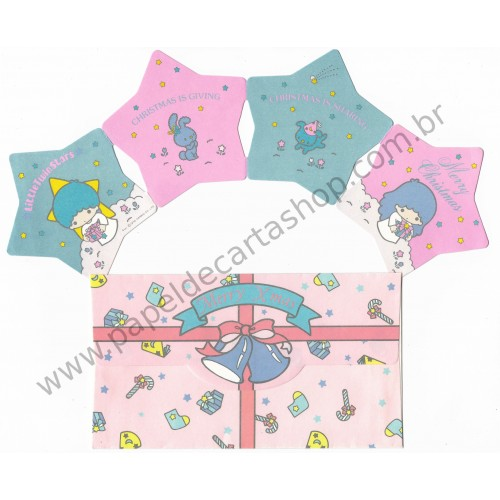 Ano 1976. Conjunto de Papel de Carta Little Twin Stars Christmas Sanrio Japan