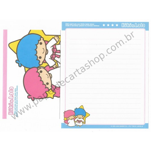 Ano 2003. Conjunto de Papel de Carta Kiki & Lala Dream Galaxy BAZ1 Sanrio