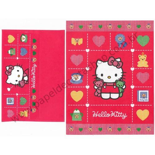 Ano 1994. Conjunto de Papel de Carta Hello Kitty Vintage Sanrio