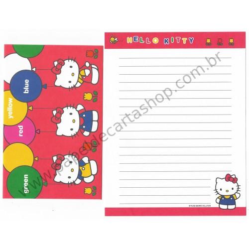 Ano 1999. Conjunto de Papel de Carta Hello Kitty Colors Antigo (Vintage) Sanrio