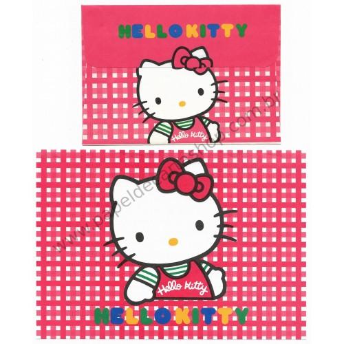 Ano 1990. Conjunto de Papel de Carta Hello Kitty CVMX Antigo (Vintage) Sanrio