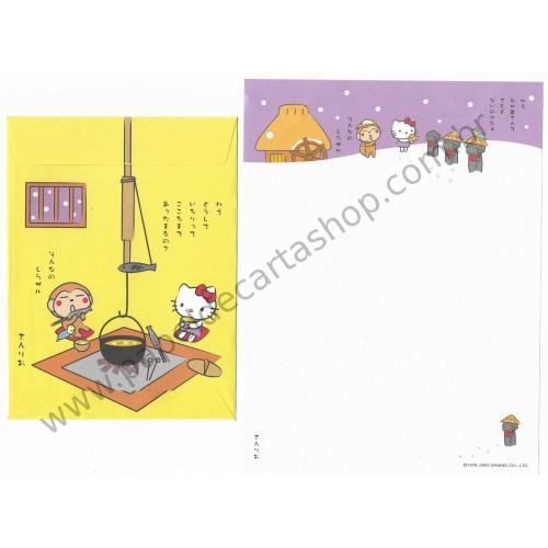 Ano 2002. Conjunto de Papel de Carta Hello Kitty Regional Japão Sanrio
