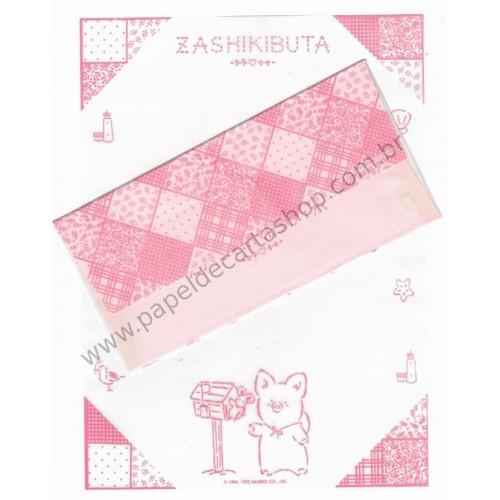 Ano 1992. Conjunto de Papel de Carta Zashikibuta Antigo (Vintage) Sanrio