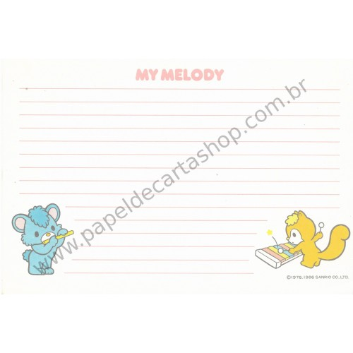 Ano 1986. Papel de Carta AVULSO My Melody Days of Fun Vintage Sanrio Argentina