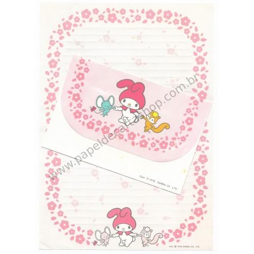 Ano 1976. Conjunto de Papel de Carta My Melody Daisies Vintage Sanrio