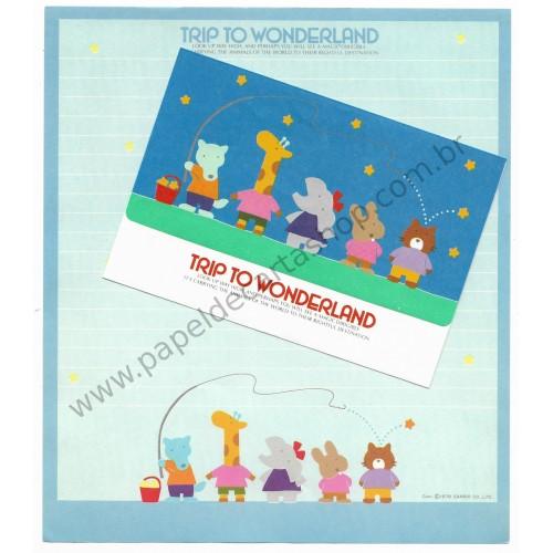 Ano 1979. Conjunto de Papel de Carta Trip to Wonderland Blue Vintage Sanrio