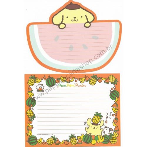 Ano 1999. Conjunto de Papel de Carta Pompompurin Watermelon Vintage Sanrio
