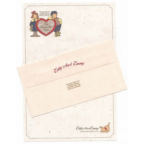 Ano 1985. Conjunto de Papel de Carta Vaudeville Duo CVD Antigo (Vintage) Sanrio