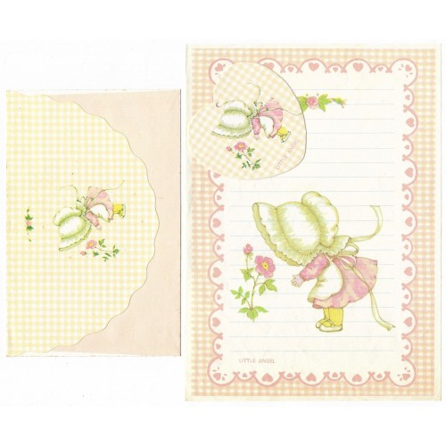 Conjunto de Papel de Carta ANTIGO Menininha Little Angel CRS