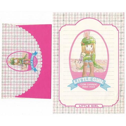 Conjunto de Papel de Carta ANTIGO Menininha Little Girl