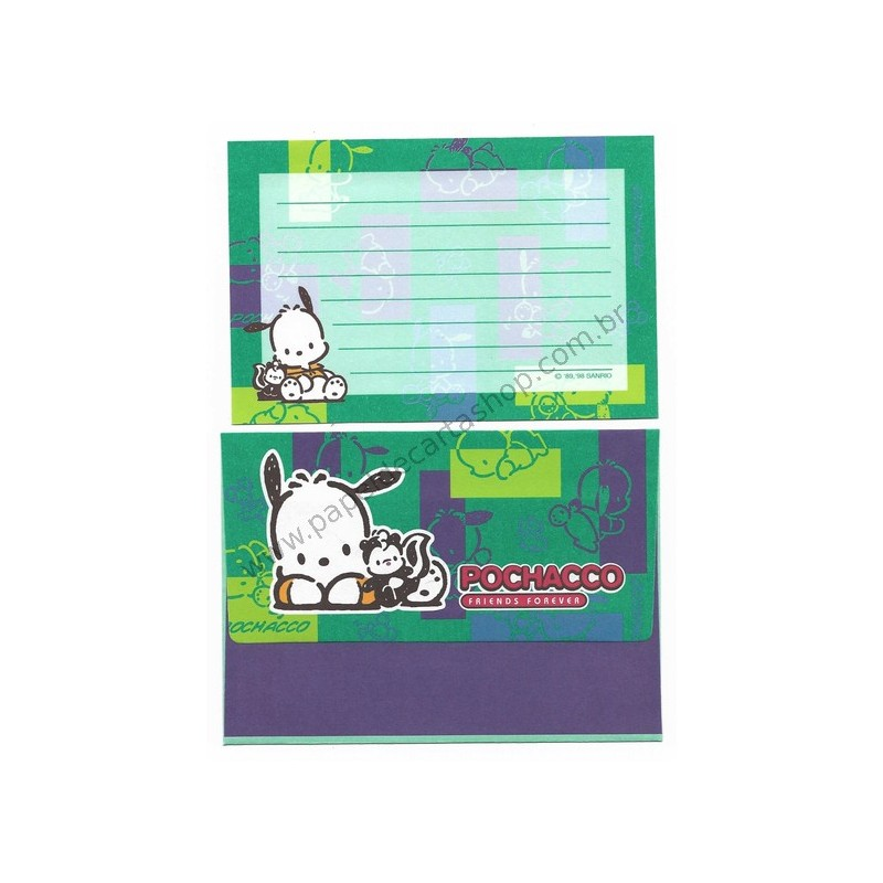 Ano 1998. Conjunto de Papel de Carta Pochacco CVD Antigo (Vintage) P Sanrio