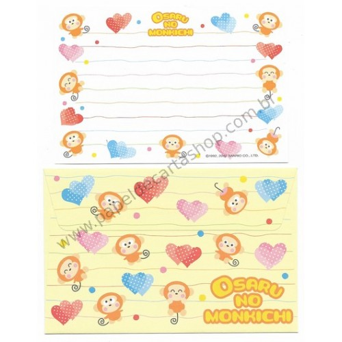 Ano 2002. Conjunto de Papel de Carta Antigo Osaru No Monkichi P Sanrio