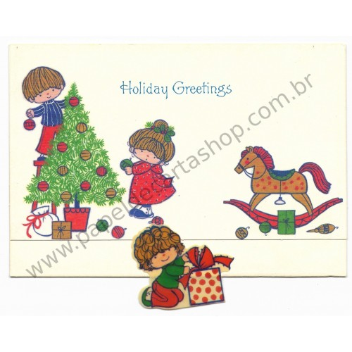Postalete Antigo Importado CHARMERS Holiday Greetings Hallmark