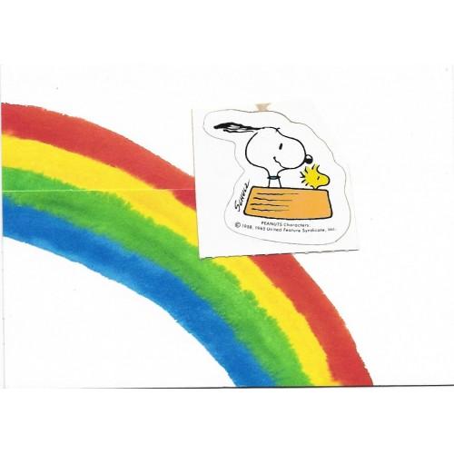 Postalete ANTIGO IMPORTADO COM SELINHO PARA COLAR Snoopy Rainbow Hmk