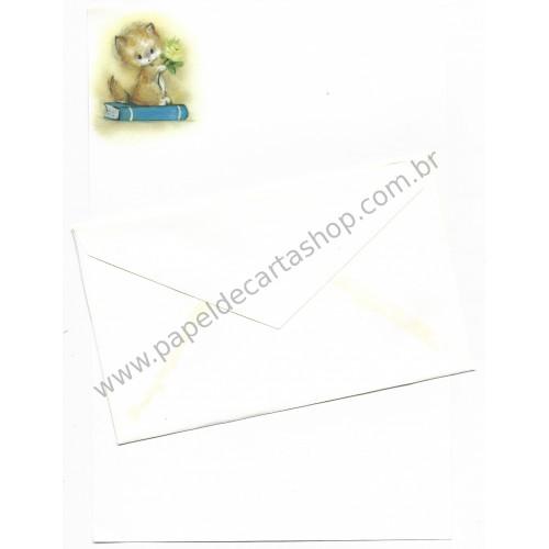 Conjunto de Papel de Carta Antigo Importado Rosa & Azul - Hallmark