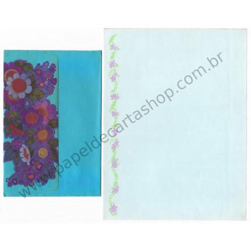 Conjunto de Papel de Carta Antigo Importado Azul Flores