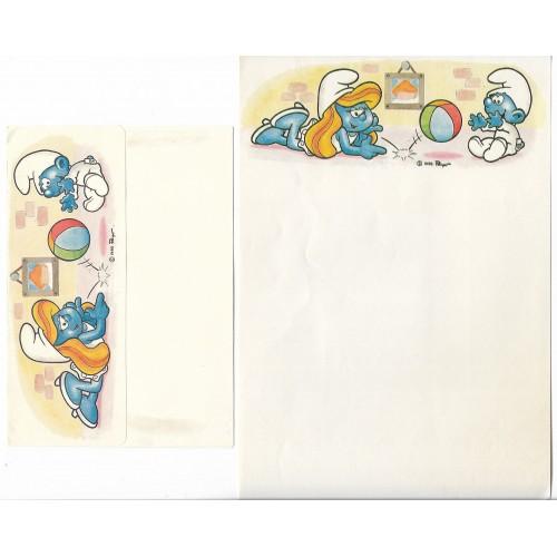 Ano 1985. Conjunto de Papel de Carta Antigo Os Smurfs CBR03