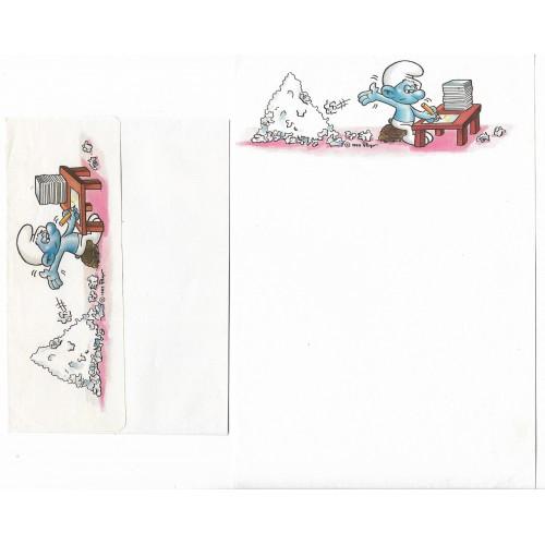 Ano 1985. Conjunto de Papel de Carta Antigo Os Smurfs CBR05