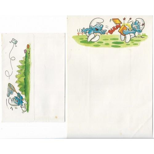 Ano 1985. Conjunto de Papel de Carta Antigo Os Smurfs CBR06