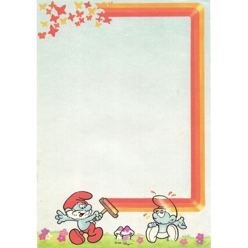 Ano 1987. Papel de Carta Avulso Antigo Os Smurfs Peyo CAZ