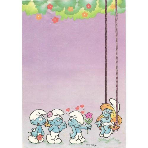 Ano 1987. Papel de Carta Avulso Antigo Os Smurfs Peyo CLL