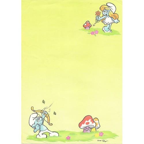 Ano 1987. Papel de Carta Avulso Antigo Os Smurfs Peyo CVD