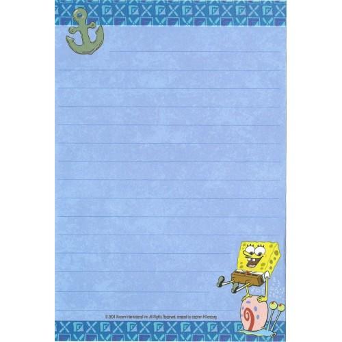 Ano 2004. Papel de Carta Avulso Importado Bob Esponja CAZ
