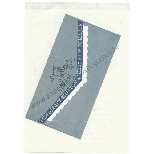 Ano 1993. Conjunto de Papel de Carta Importado Tom and Jerry Kids Blue