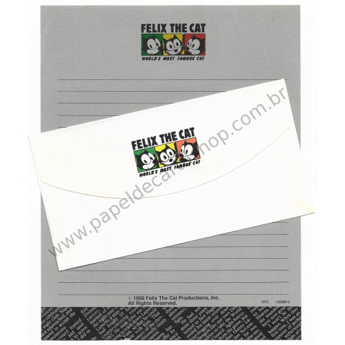 Ano 1989. Conjunto de Papel de Carta Importado Felix the Cat