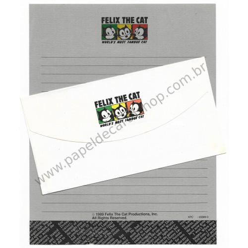 Ano 1989. Conjunto de Papel de Carta Importado Felix the Cat